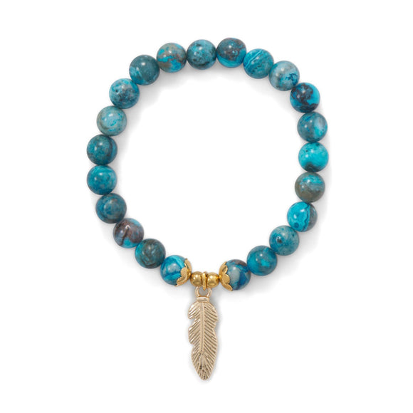 Dyed Agate Stretch Bracelet with Feather Charm