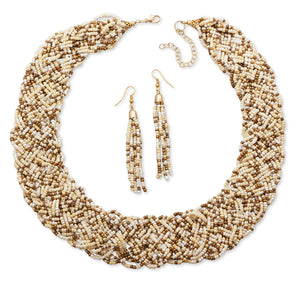 Woven Ivory Glass Seed Bead Fashion Necklace and Earring Set