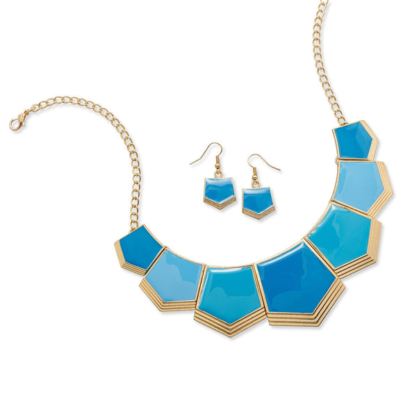 Blue Pentagon Link Fashion Necklace and Earring Set