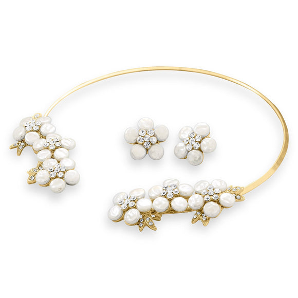 Gold Tone Simulated Pearl and Crystal Floral Fashion Collar and Earring Set