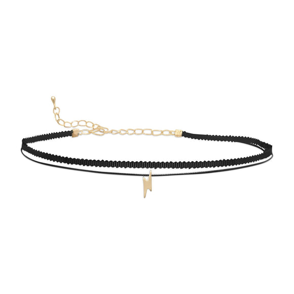 Double Strand Fashion Choker with Lightning Bolt Slide