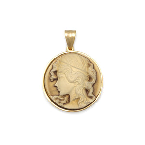 14 Karat Gold Plated Stainless Steel Cameo Pendant