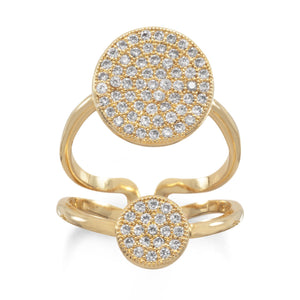 14 Karat Gold Plated Double CZ Circle Fashion Ring