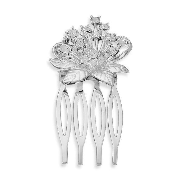 Silver Plated Crystal Flower Fashion Hair Comb