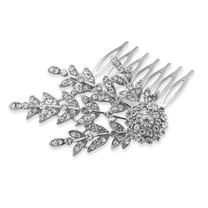 Silver Tone Floral Design Fashion Hair Comb with Crystal