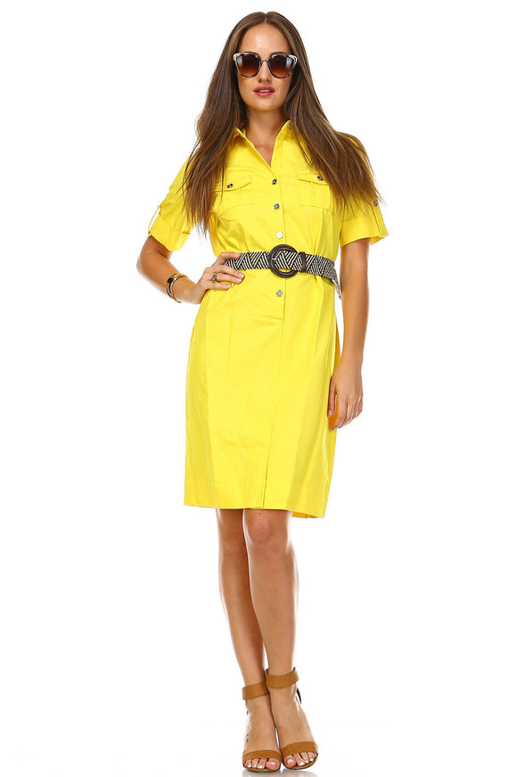 Women's Short Sleeve Belted Dress