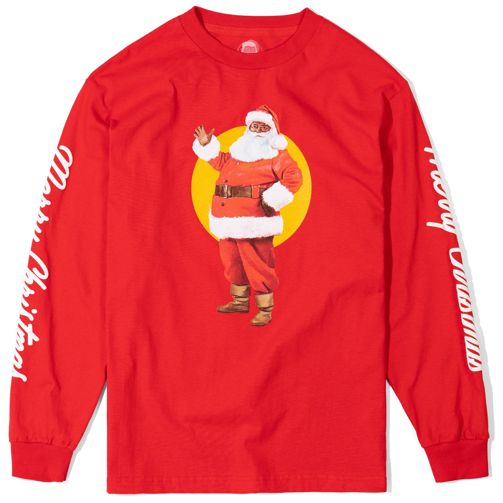 Friendly Santa Long-Sleeve Tee, Red