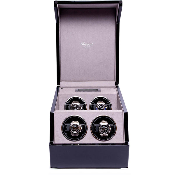 Rapport-Watch Winder-Perpetua III Quad Watch Winder-Black