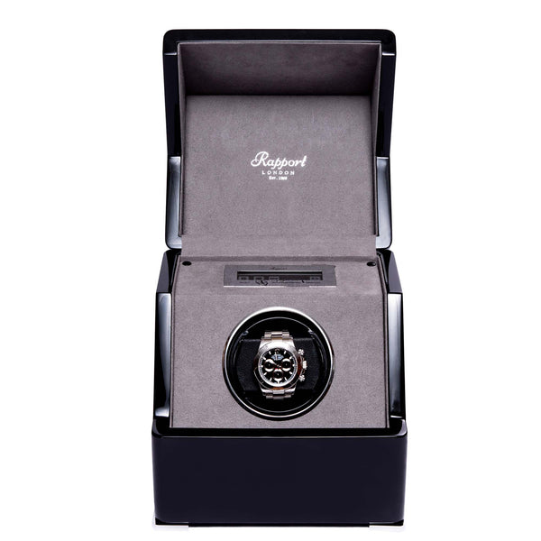 Rapport-Watch Winder-Perpetua III Single Watch Winder-Black