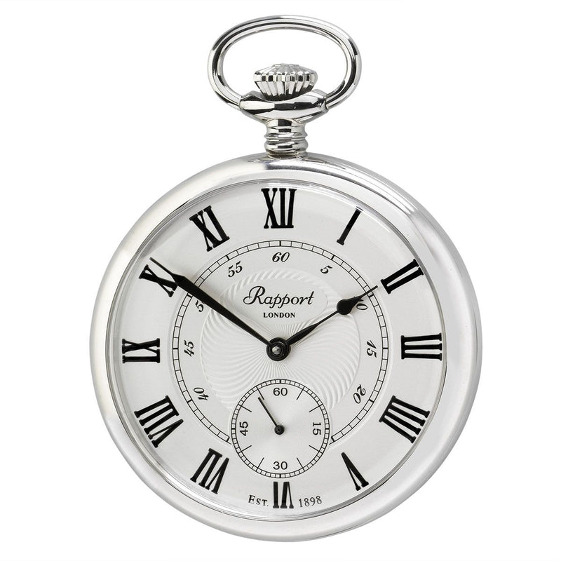 Rapport-Watch Accessories-Mechanical Open Face Pocket Watch-Silver