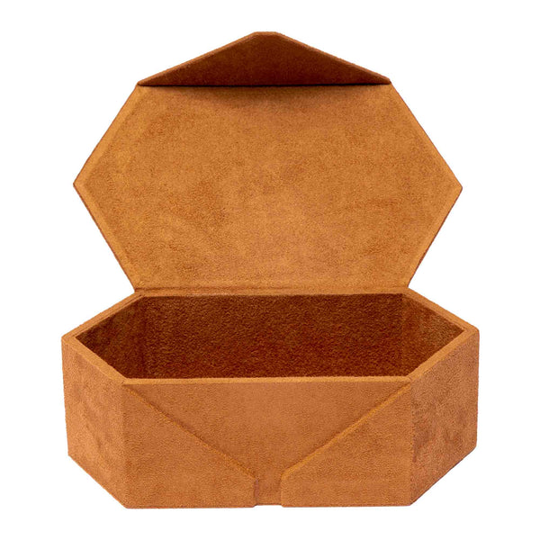 Rapport--Tangram Brown Suede Accessory Box-