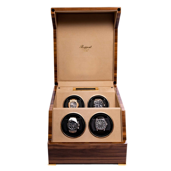 Rapport-Watch Winder-Perpetua III Quad Watch Winder-Walnut