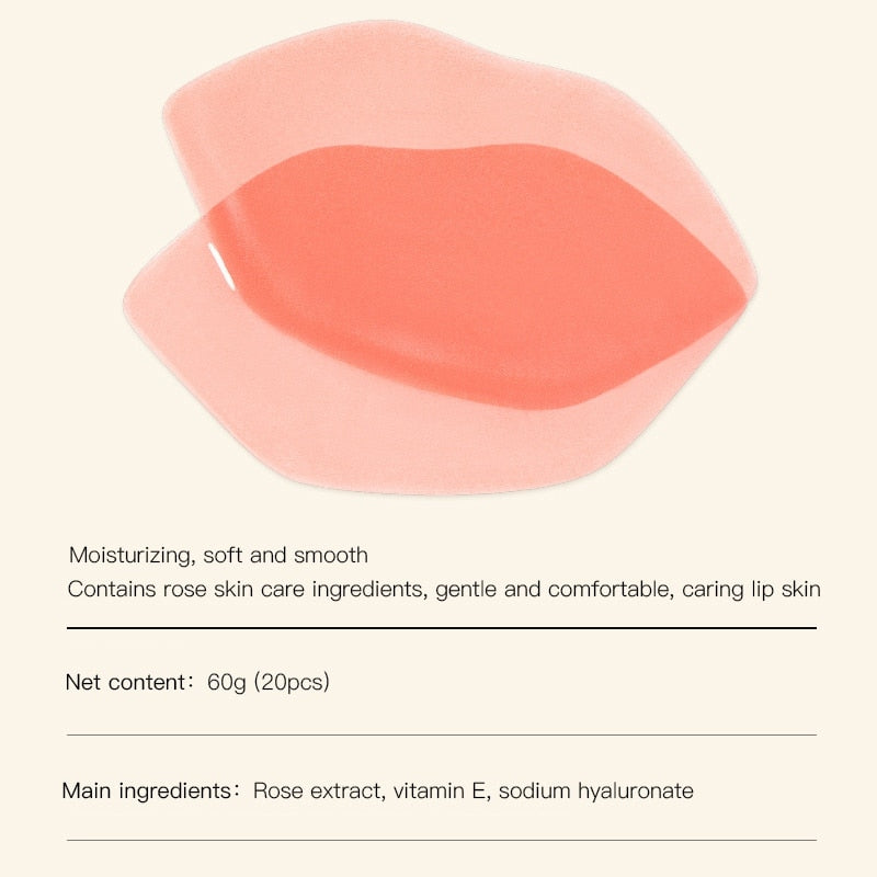 Rose Moisturizing Lip Mask - 20Pcs - elferiah.com