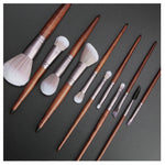 Wooden Makeup Brush Set - 11Pcs - elferiah.com