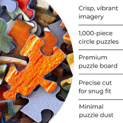 Pre-order from the Earth Series: 1,000-piece Circle Earth, Moon, and Sun Jigsaw Puzzles - Blue Kazoo