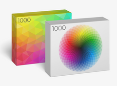 Pre-order the COLOR Series — 1,000-piece Color Wheel and Triangles Jigsaw Puzzles - Blue Kazoo