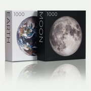 Pre-order from the Earth Series: 1,000-piece Circle Earth and Moon Jigsaw Puzzles - Blue Kazoo
