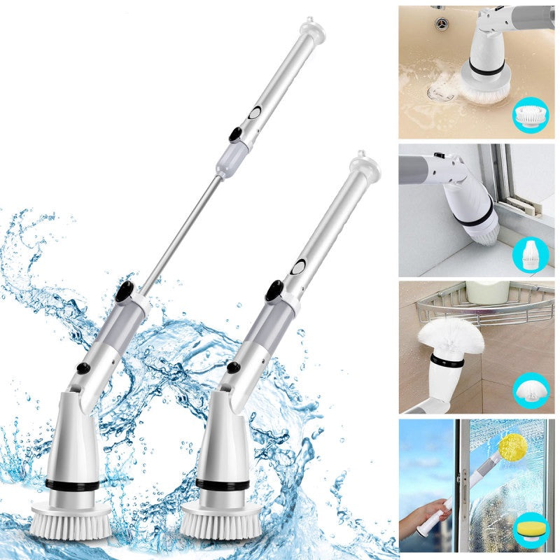 Home Electric Turbo Scrub Cleaning Brush Wireless Charge Long Handle