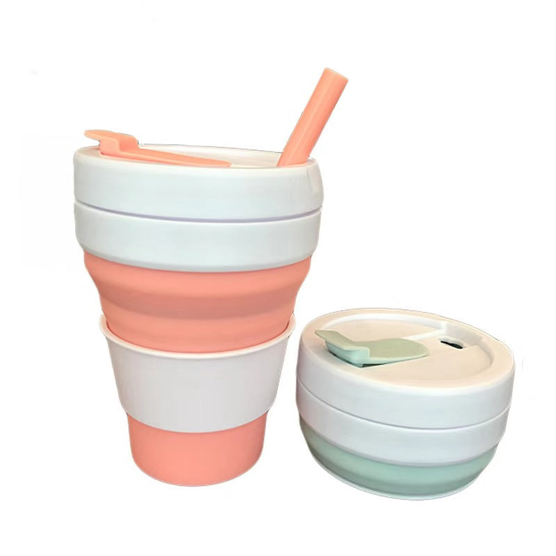 355mL Mint Portable Folding Cup Silicone Collapsible Coffee Cup Free Straw Expandable