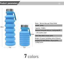 Load image into Gallery viewer, BPA Free Collapsible Water Bottle Silicone Folding Water 550ML Food Grade