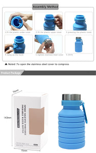BPA Free Collapsible Water Bottle Silicone Folding Water 550ML Food Grade
