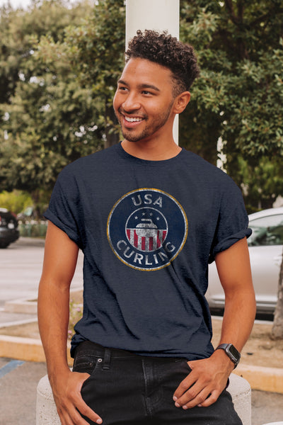 USA Curling Classic Triblend Unisex Tee - Navy