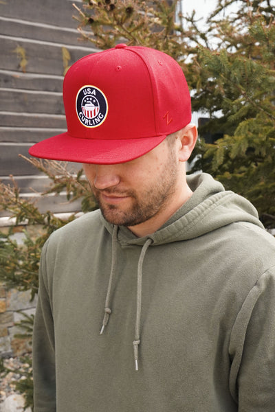 USA Curling Red Flat Bill Cap