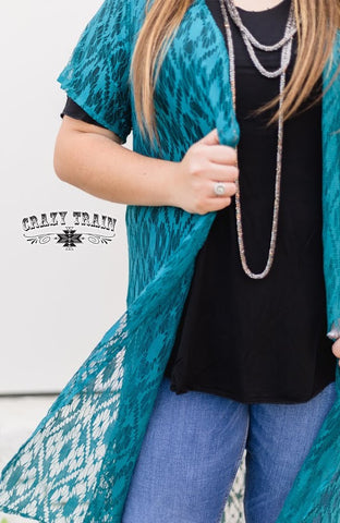 Teal Albuquerque Lace Duster