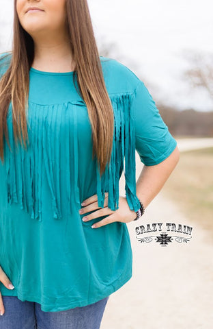 FRINGE IN LOW PLACES TOP  |  TEAL