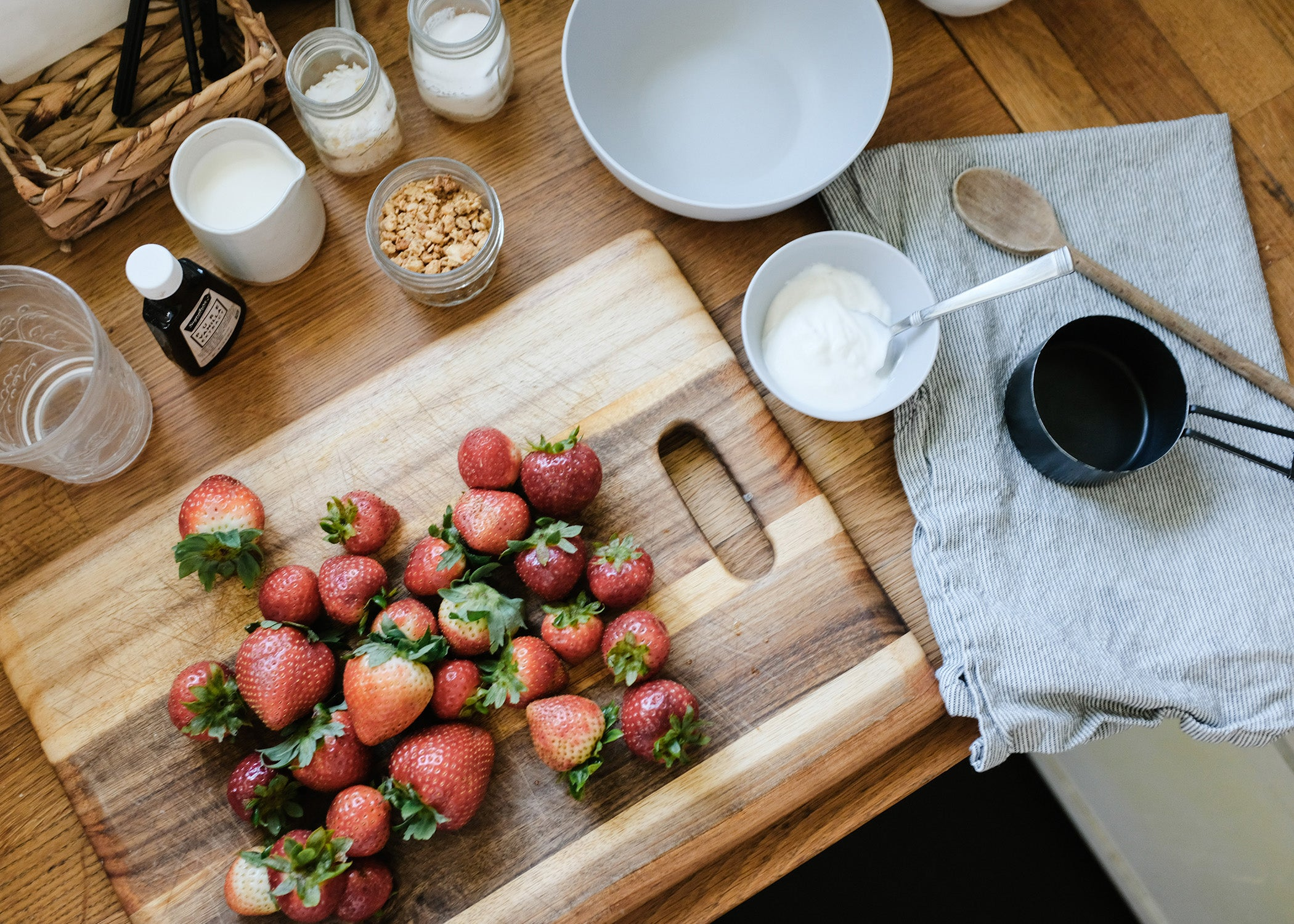 strawberries in a bowl on countertop