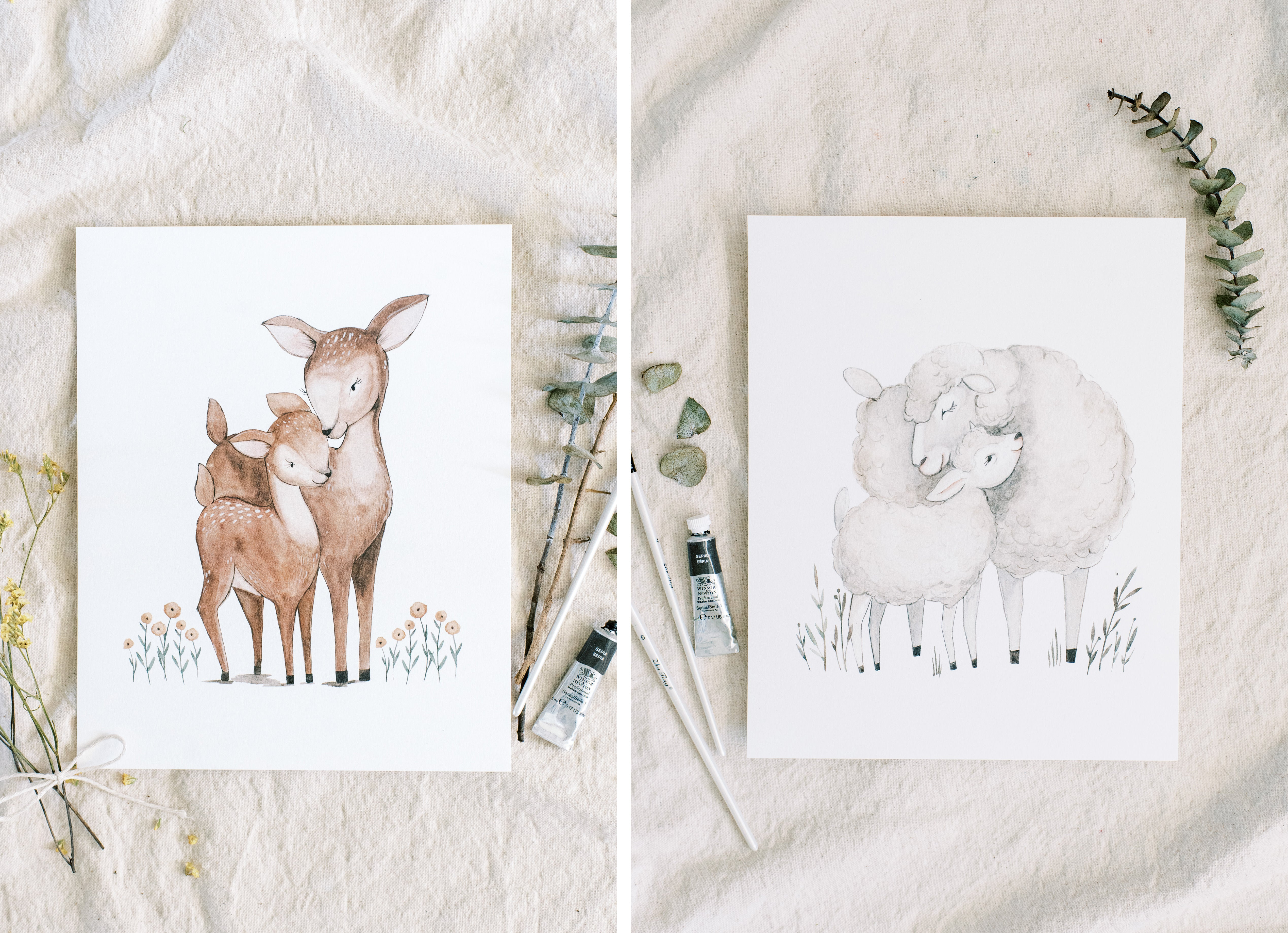paining of deer and sheep