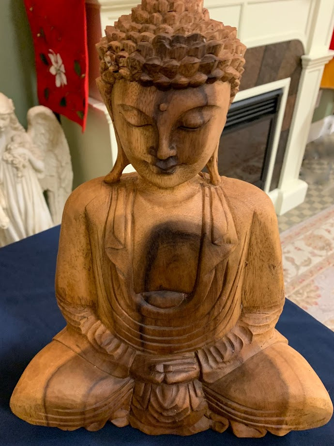 Hand Carved Wood Meditating Buddha