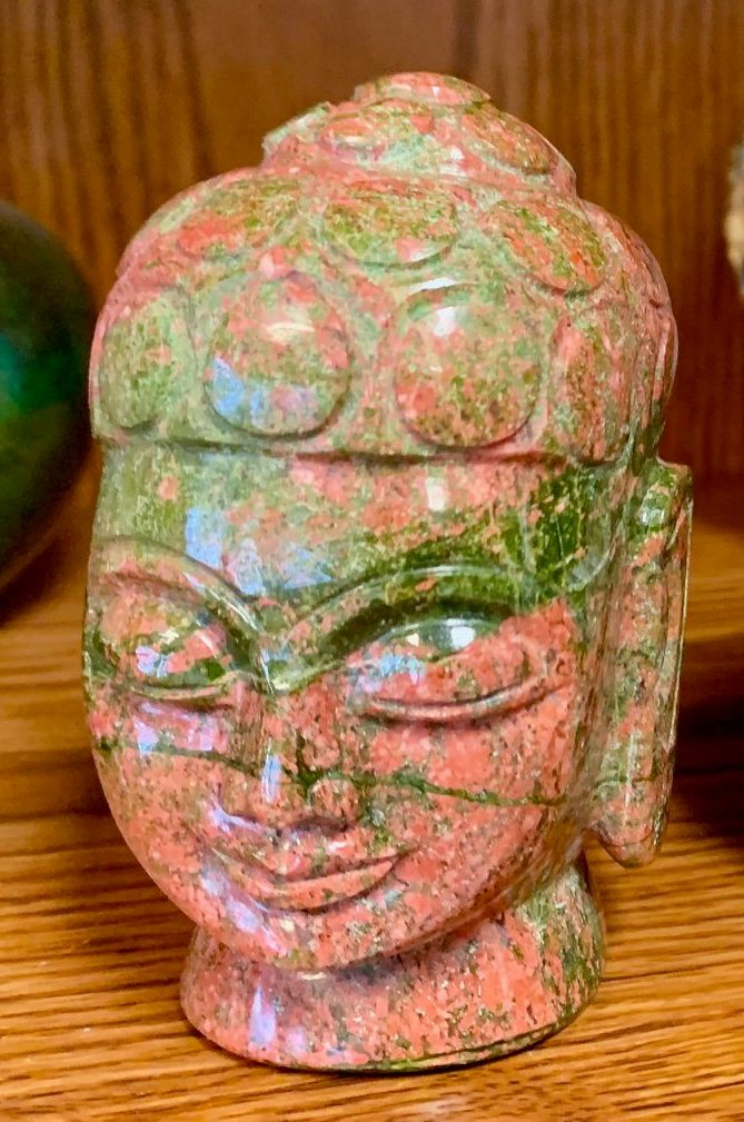 Unakite Hand Carved Buddha Head