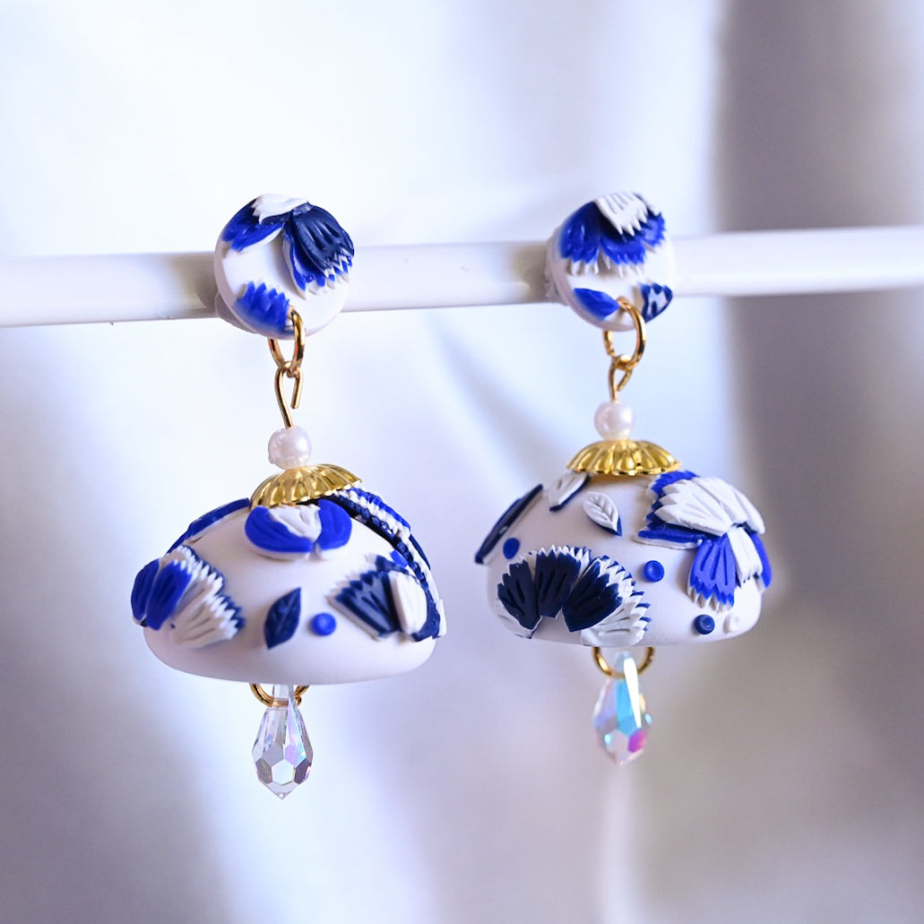 White and Blue Porcelain with Iridescent Swarovski beads