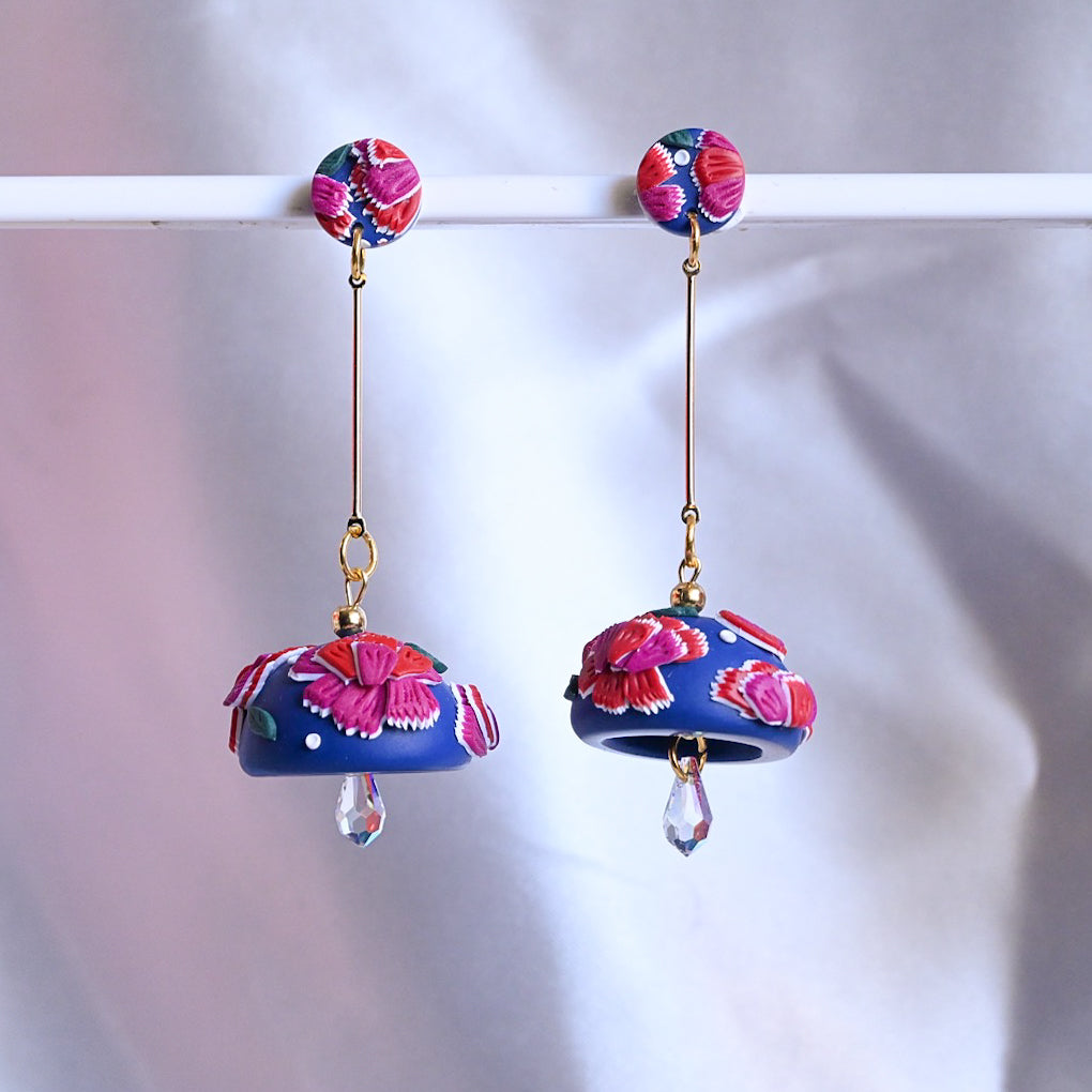 Navy and Maroon Long Dangles with Iridescent Swarovski Beads
