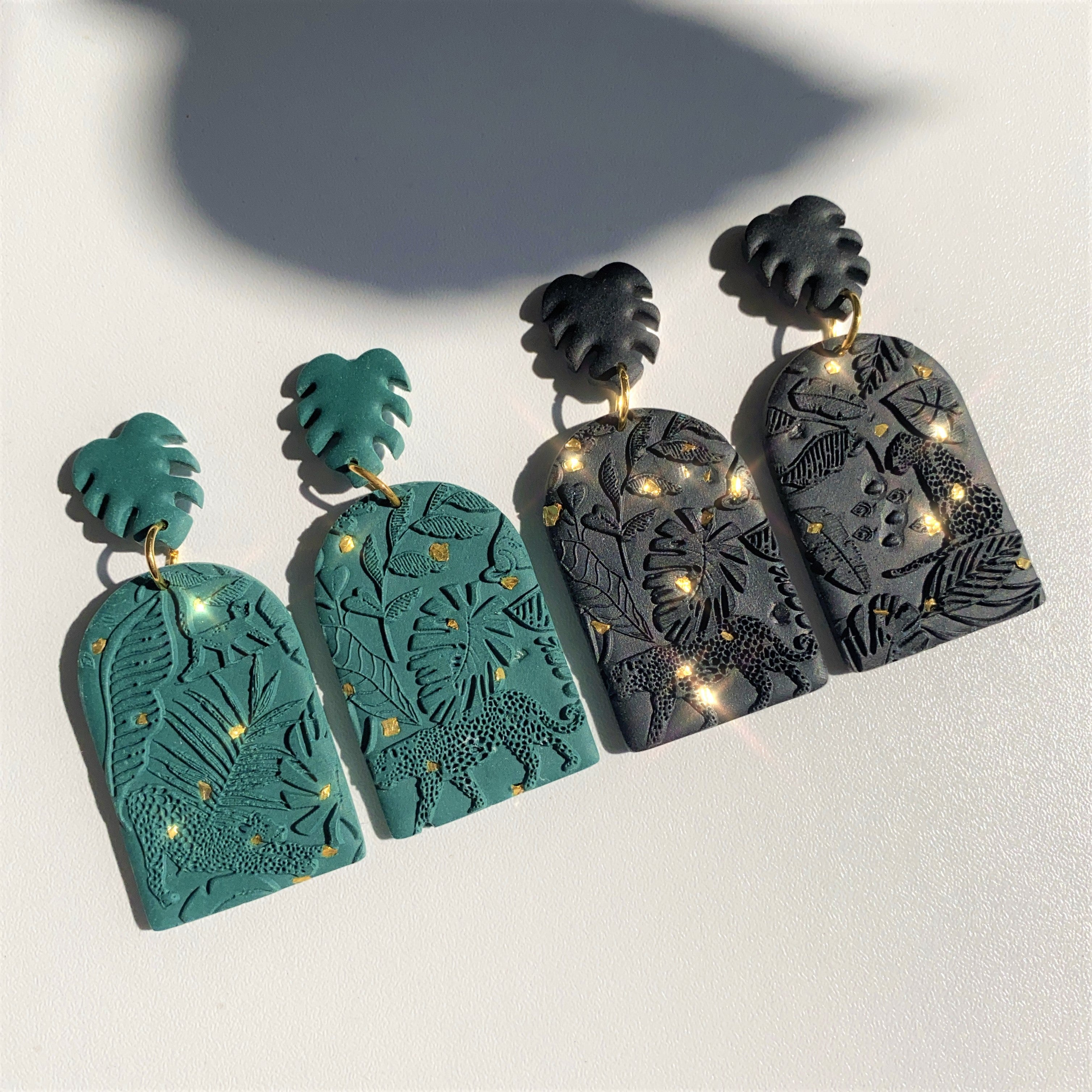 Jungle Fever - Emerald/Gold Specks Large Dangles (Maeve)
