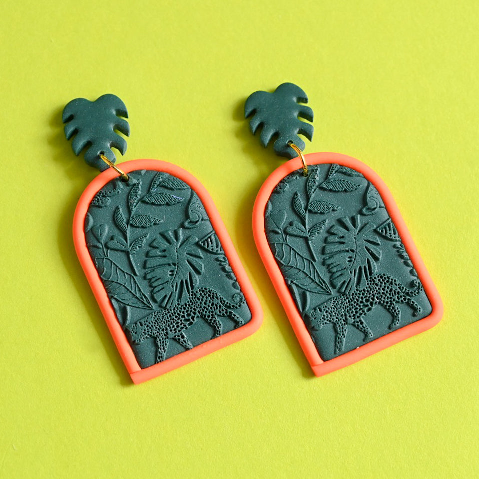 Jungle Fever - Emerald/Orange Large Dangles (Maeve)