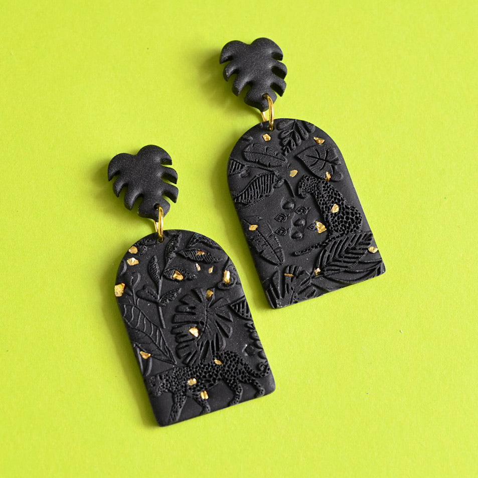 Jungle Fever - Black/Gold Specks Large Dangles (Maeve)