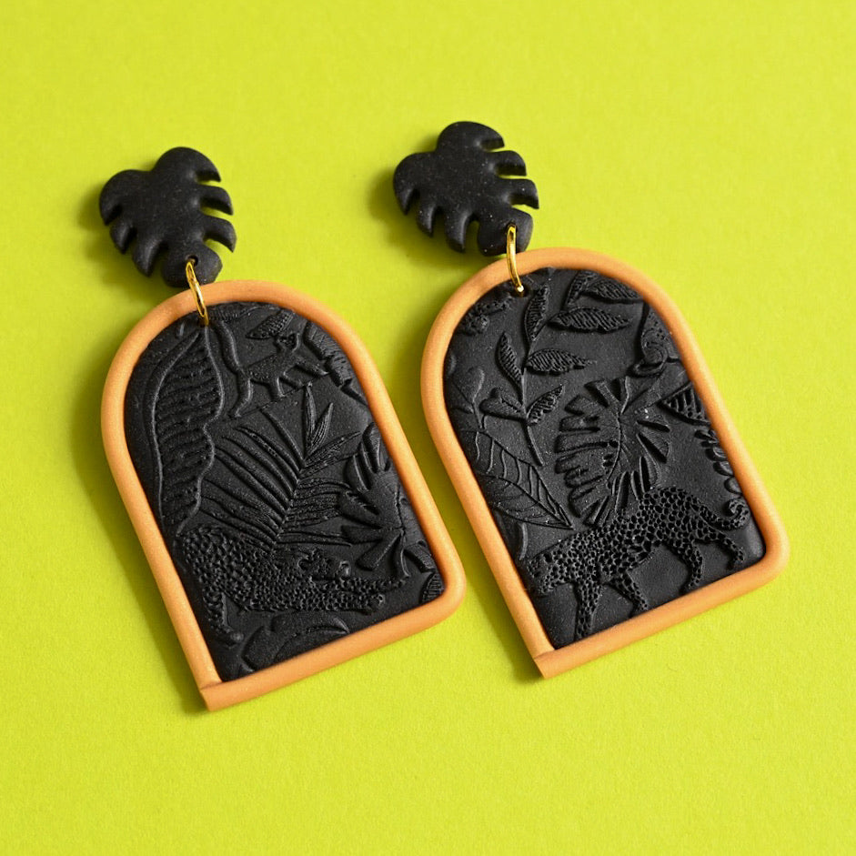 Jungle Fever - Black/Gold Large Dangles (Maeve)