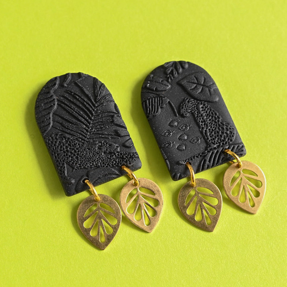 Jungle Fever - Black/Gold Leaf Double Dangles (Maeve)