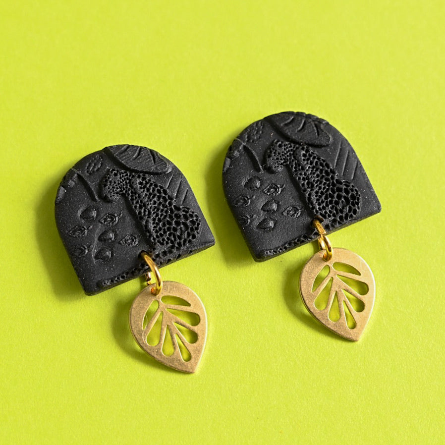 Jungle Fever - Black/Gold Leaf Dangles (Quinn)