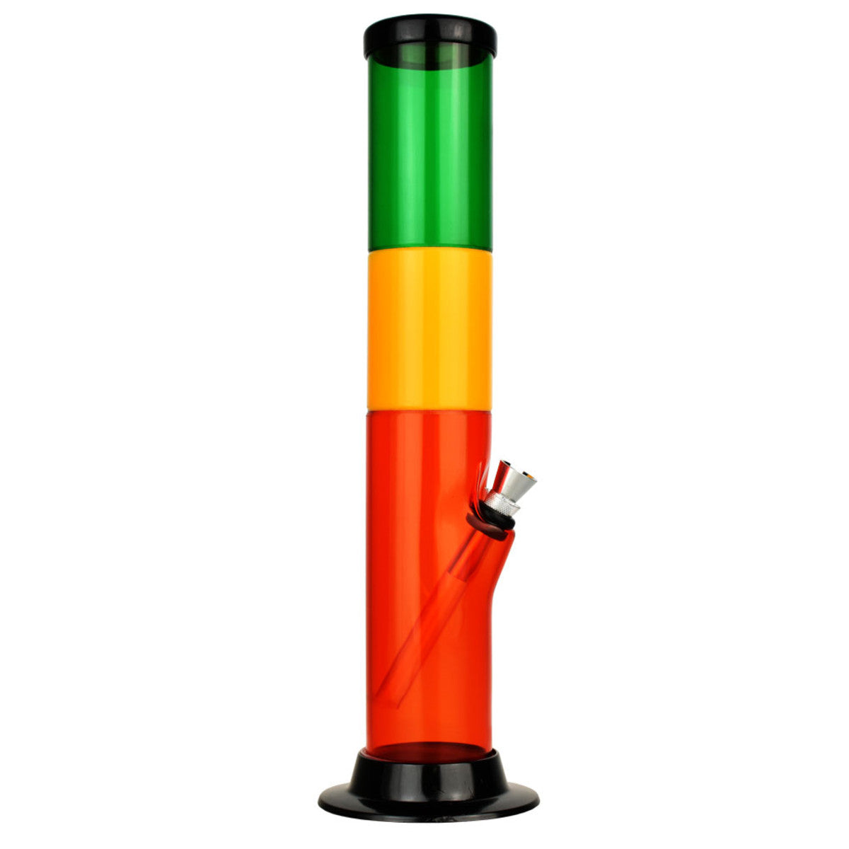 "Acrylic Rasta Water Pipe 12"" Straight Tube"