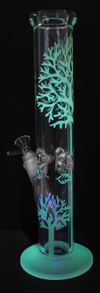 water pipe, straight tube, tree design, clear, glass water pipe with herb slide and ice catcher, glow in the dark