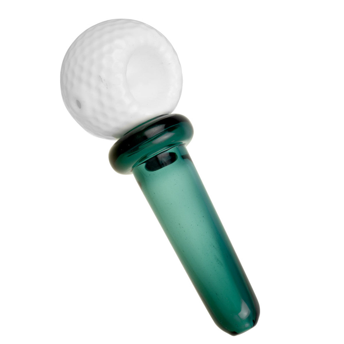 smoking pipe, golf ball and tee, glass hand pipe, green, white, unique smoking pipe