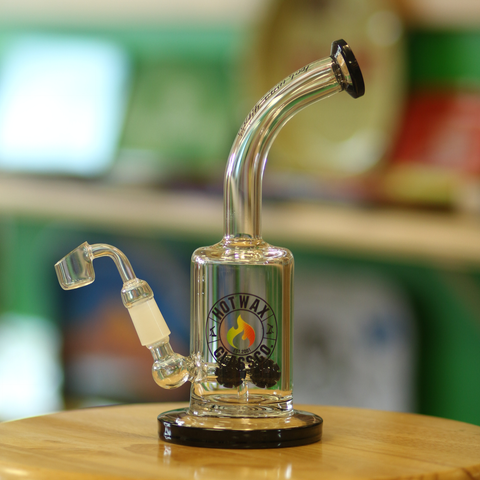 "Hot Wax Rig Water Pipe 9"" Black Accents"