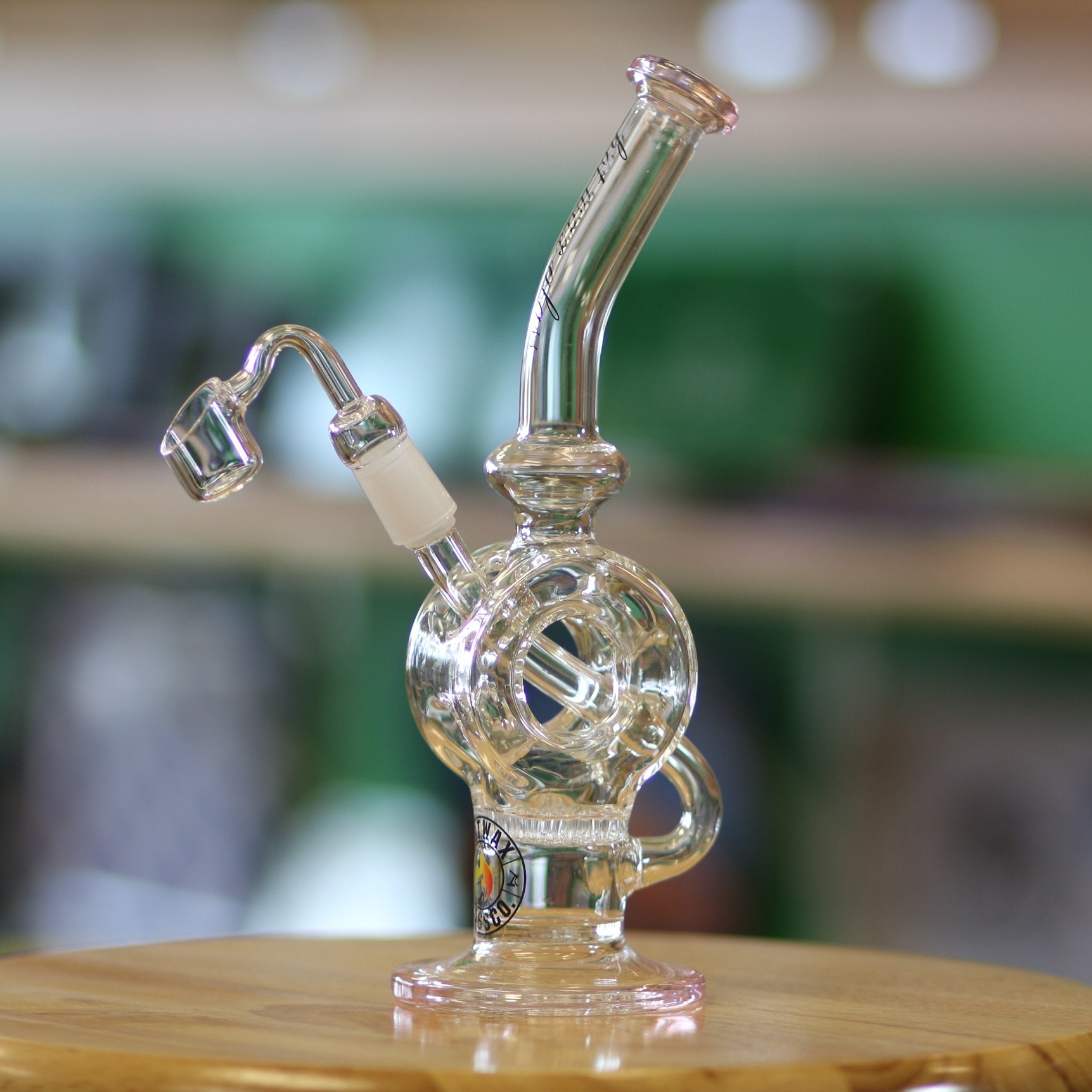 "Hot Wax Circle Rig Water Pipe 9"" Pink Accents"