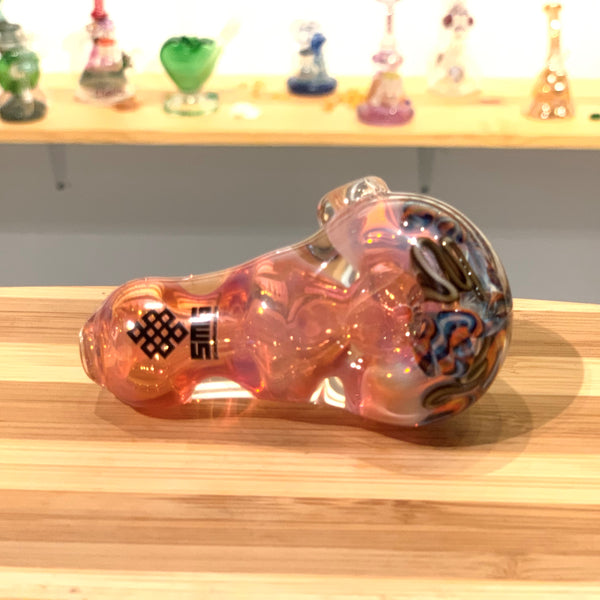 heady glass pipe, unique glass pipe, artist hand pipe