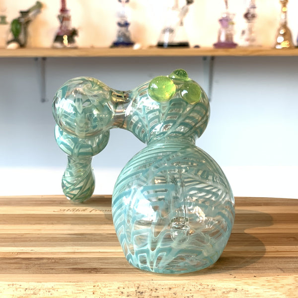 bubbler water pipe, green, handblown, artist made, heady glass