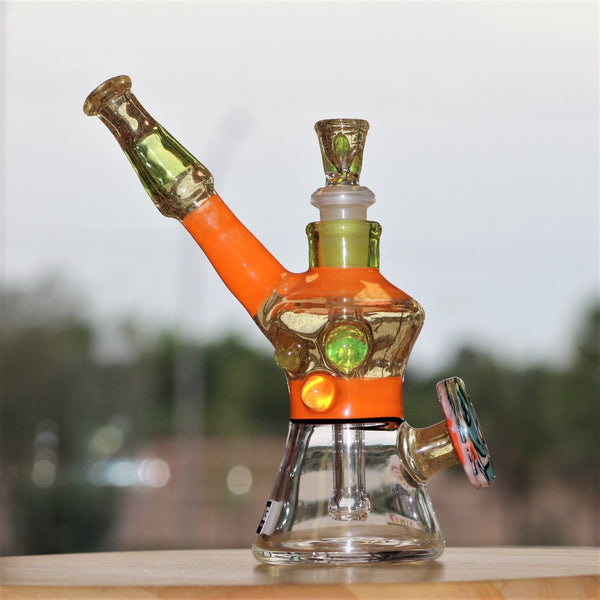 heady glass, heady water pipe, unique orange, clear, lime, with herb slide