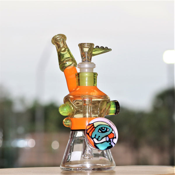 heady water pipe, unique heady glass water pipe, orange, lime, with herb slide